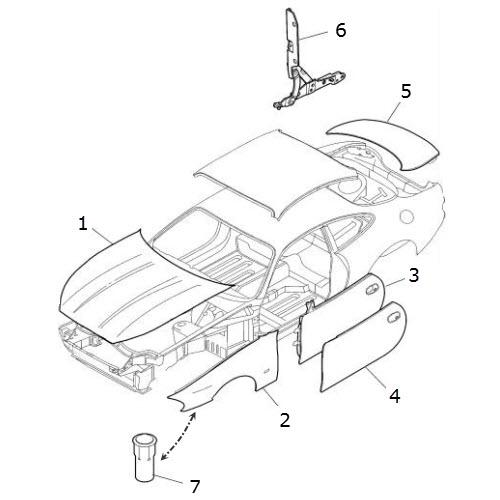 bonnet wing door and trunk lid panel  terrys jaguar parts
